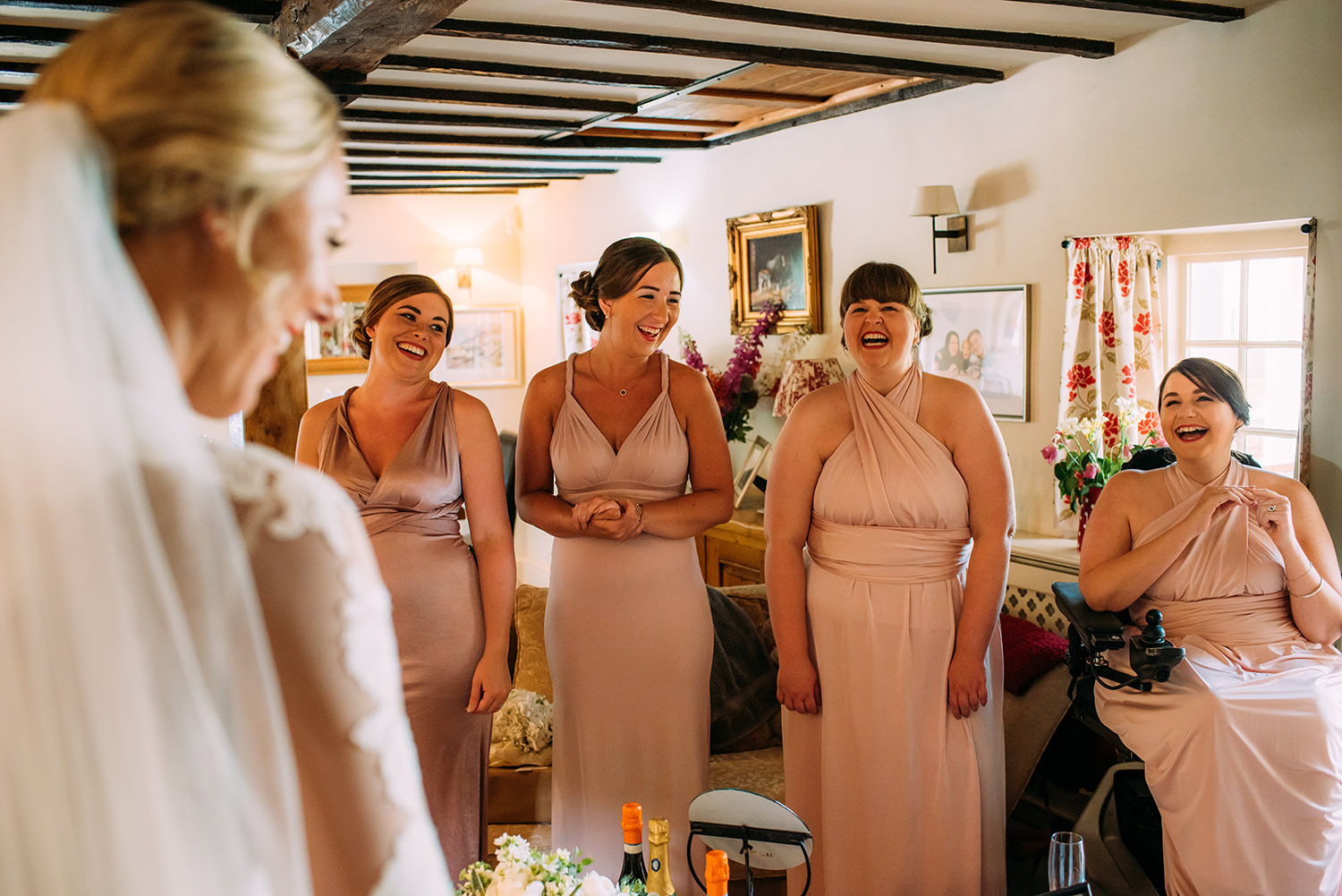 excited bridesmaids's react to seeing Amy