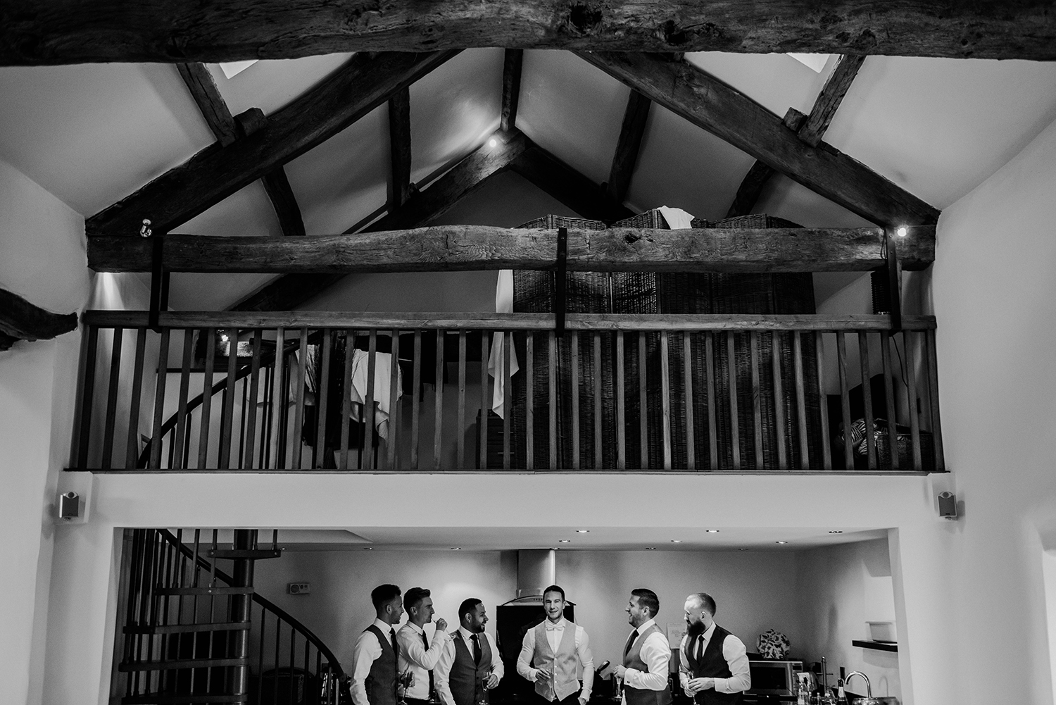 bw photo of the guys in the kitchen