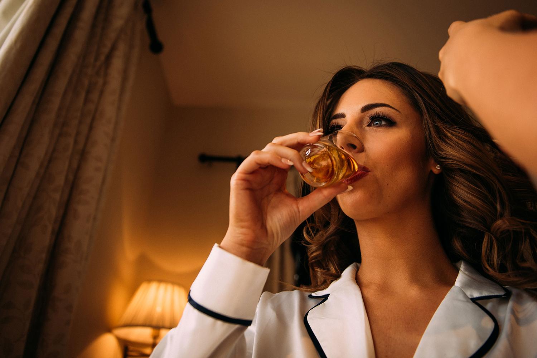 bride drinking whiskey