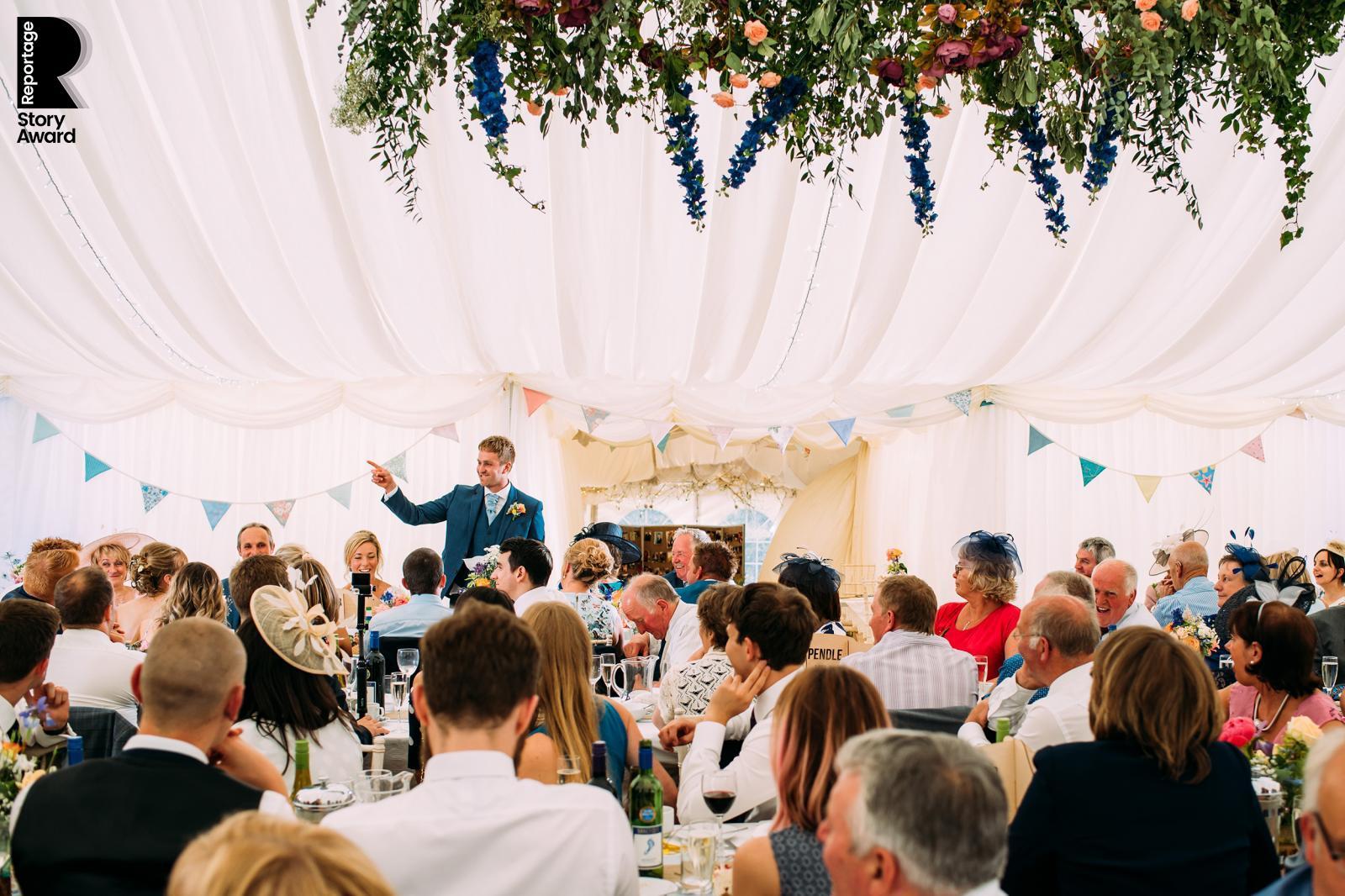 wide shot of the groom speech
