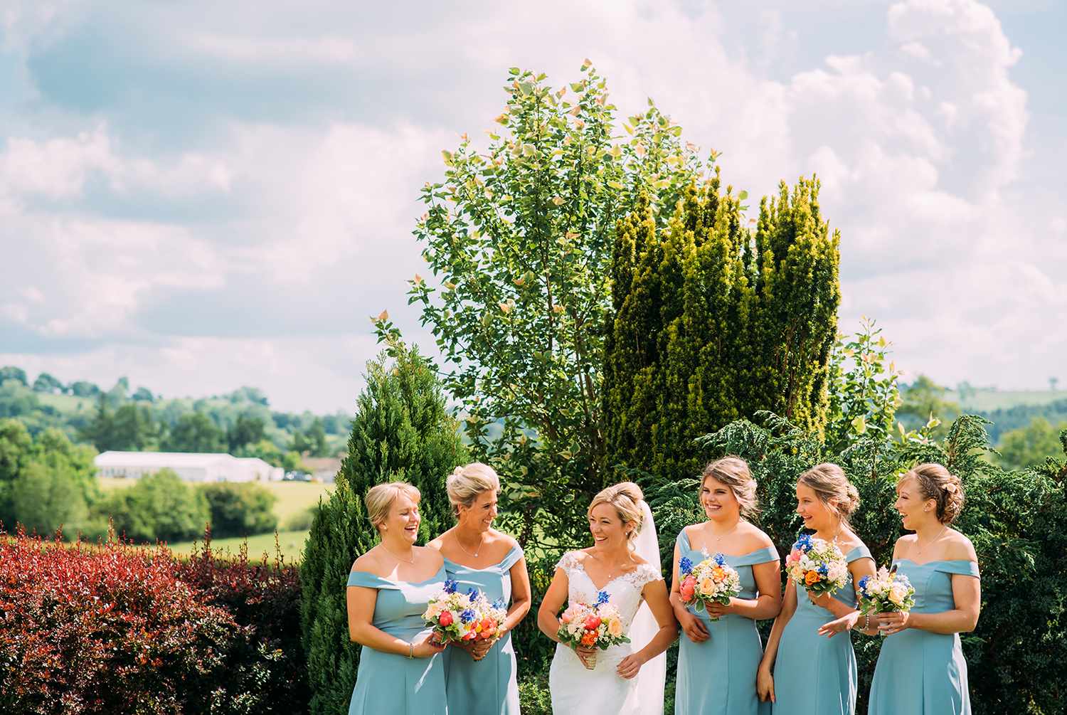 the bride and bridesmaids just before leaving for church