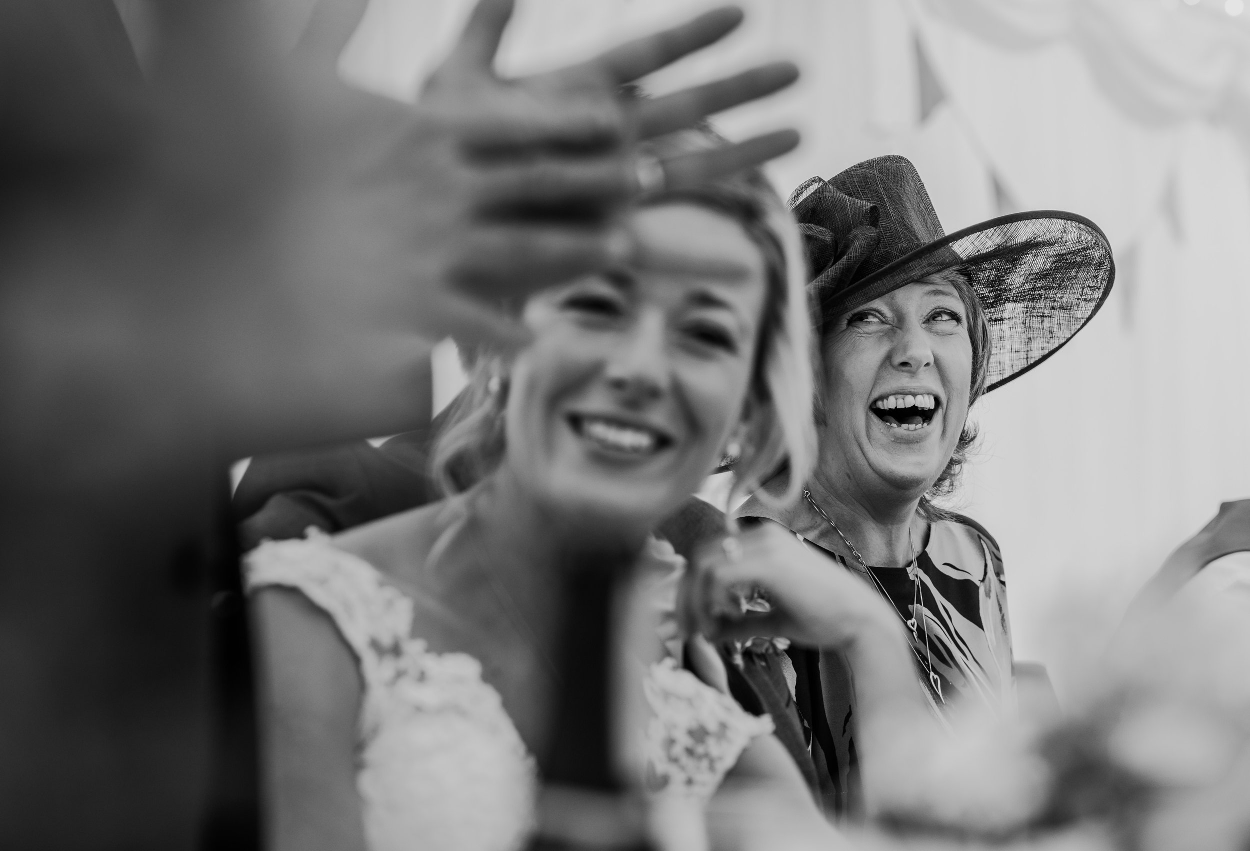 bw photo guests smiling