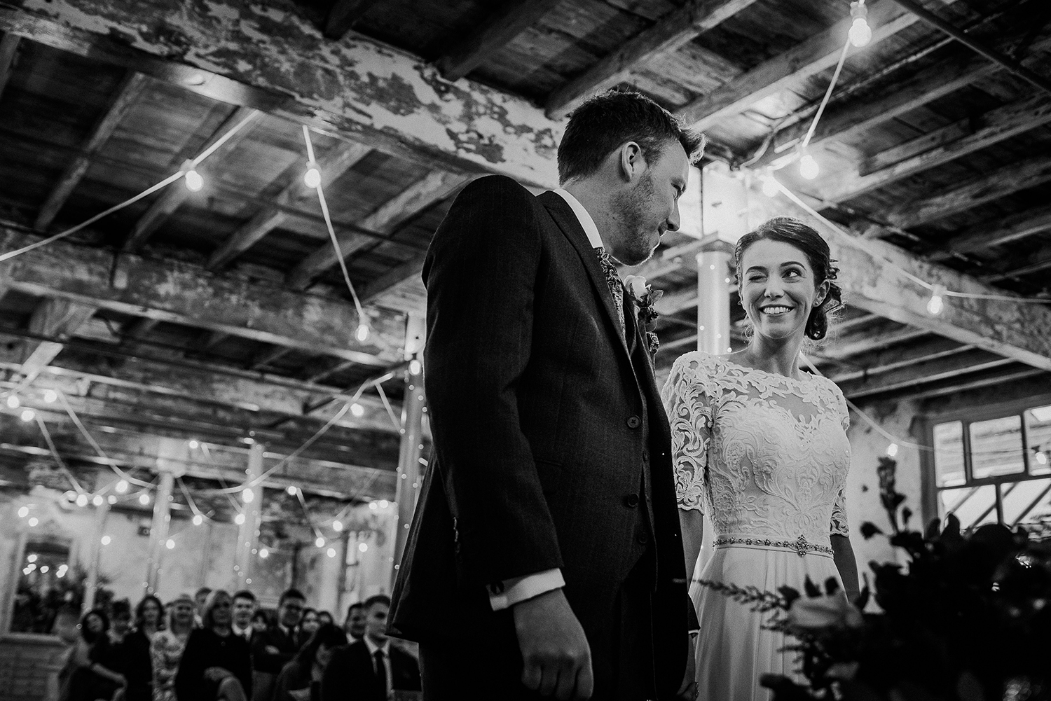 Bw photo. Bride winking at the groom
