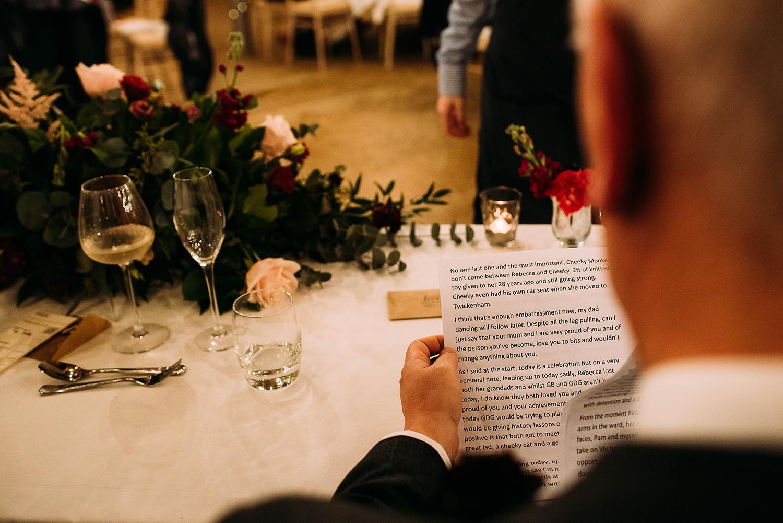 brides dad practising speech
