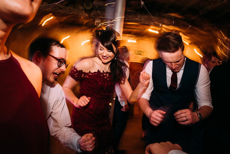 fun shot of guests dancing