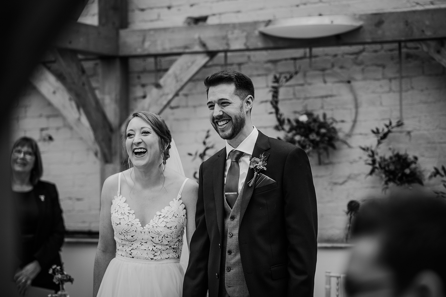 BW photo. Bride and groom laughing