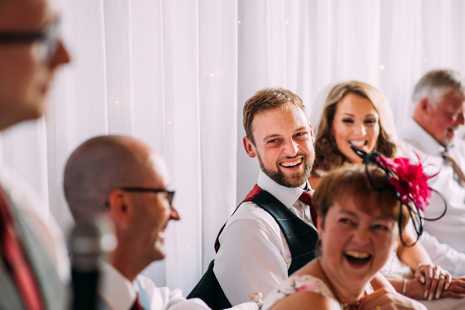 laughing during the speeches