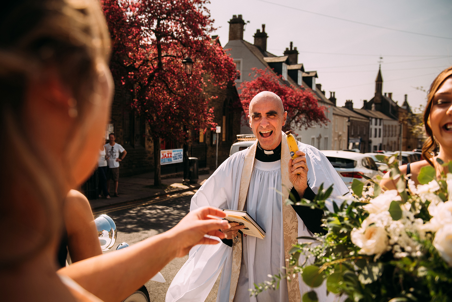 the vicar arrives with a banana
