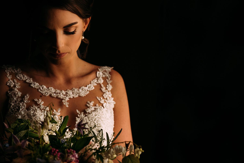 Bridal portrait with her bouquet