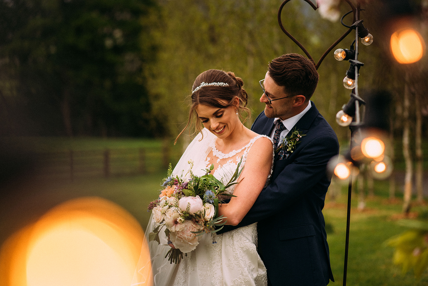 Bride and groom together at the Out barn wedding venue