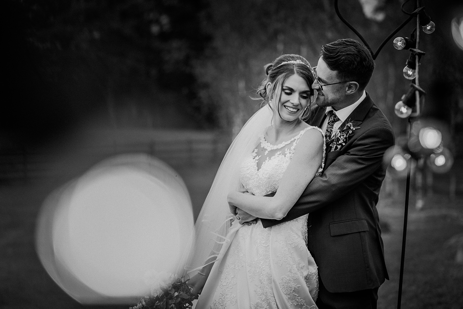 Bride and groom together at the Out barn wedding venue. BW photo