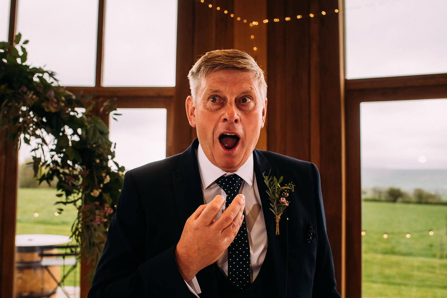 animated father of the bride during his speech
