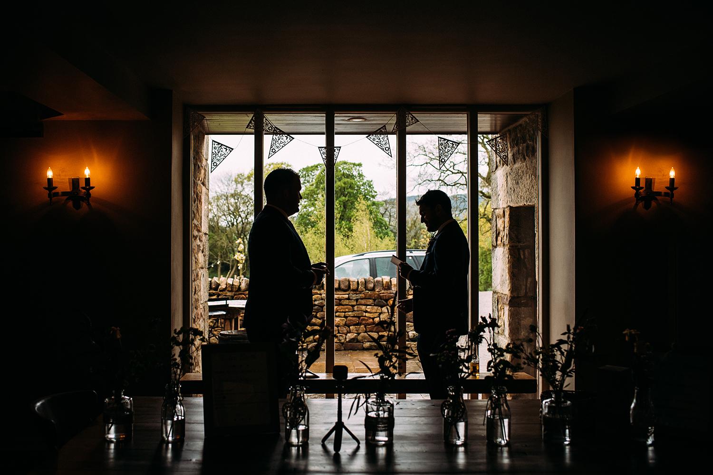 symmetrical silhouette of the best men practising their speech