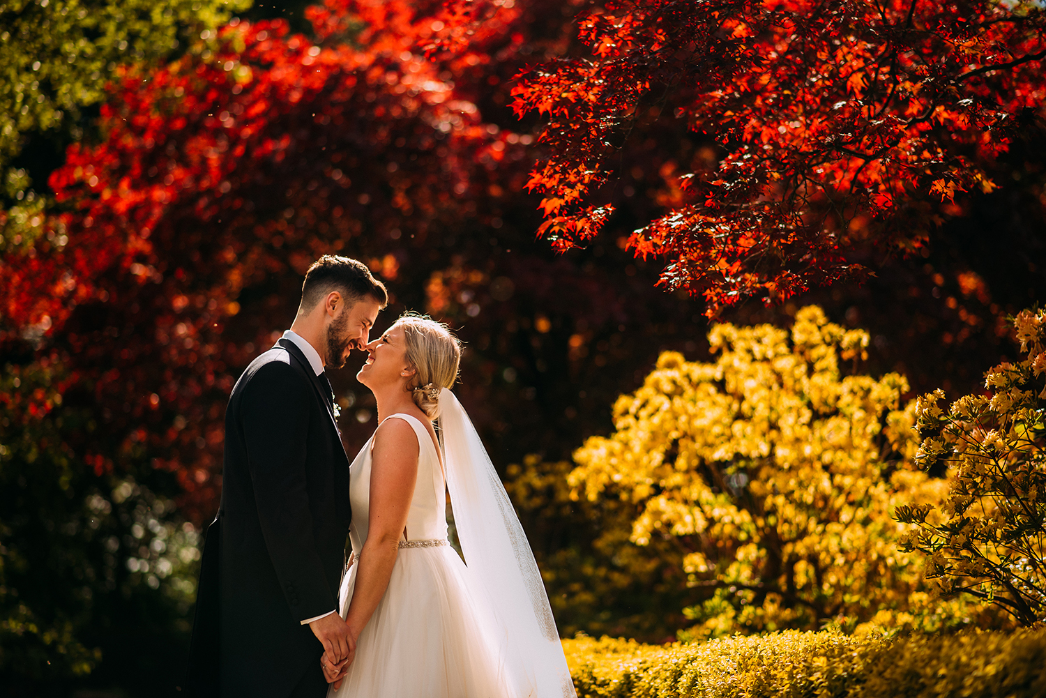 bride and groom among the bright coloured gardens at Eaves hall