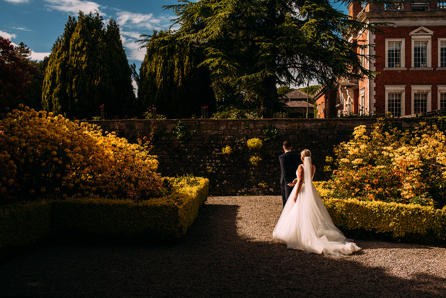 bride and groom at Eaves Hall