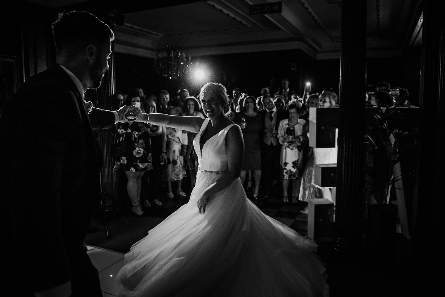 bw photo. First dance at Eaves hall