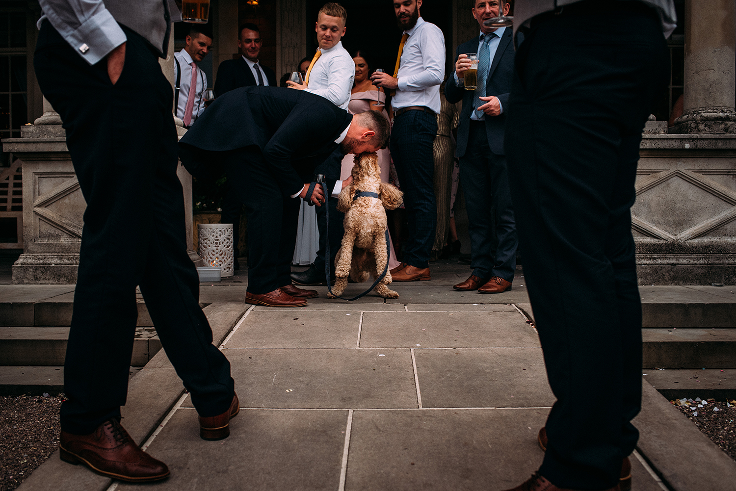 groomsman being licked in the face by a dog