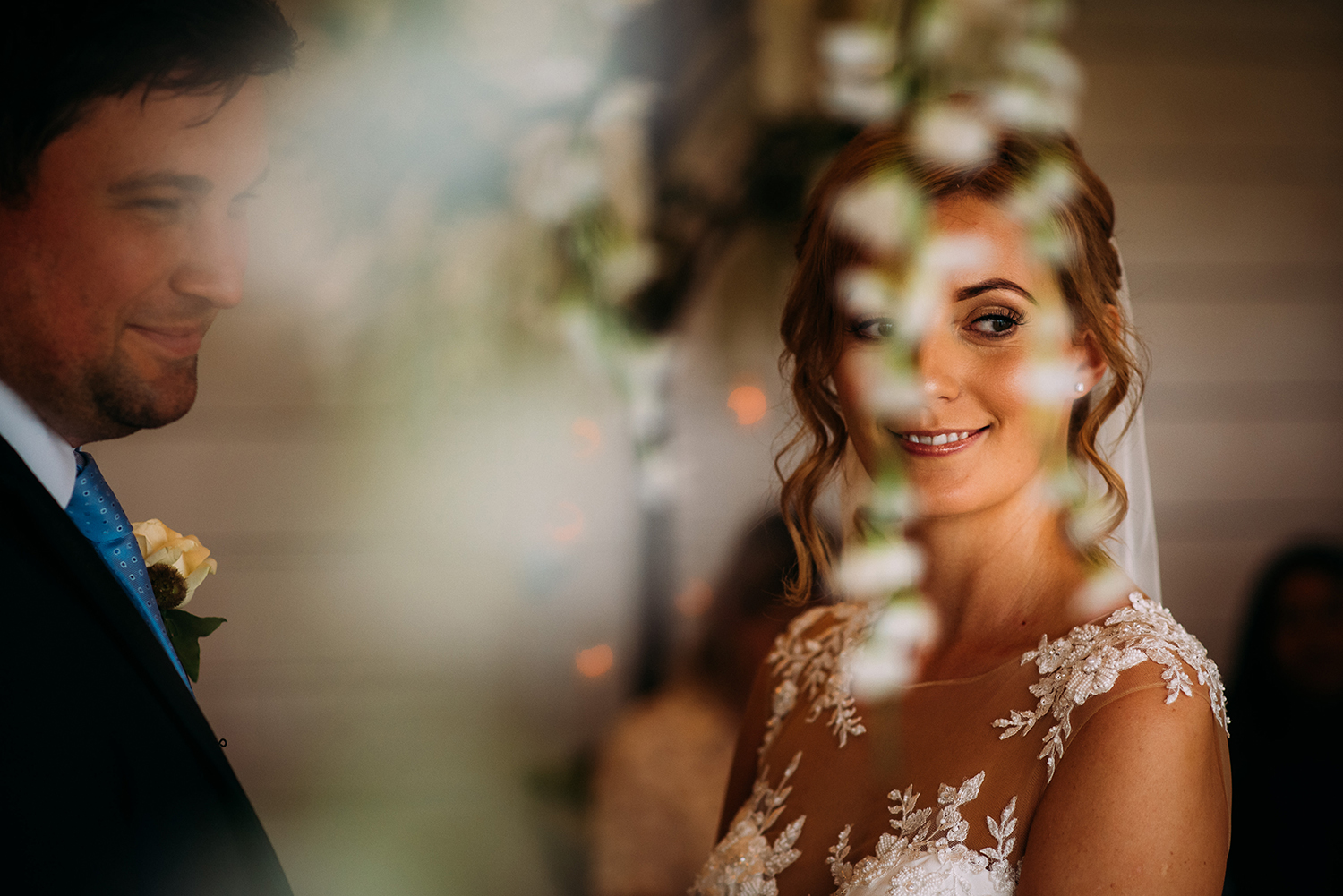 close up of the bride during the ceremony at Bashall Barn