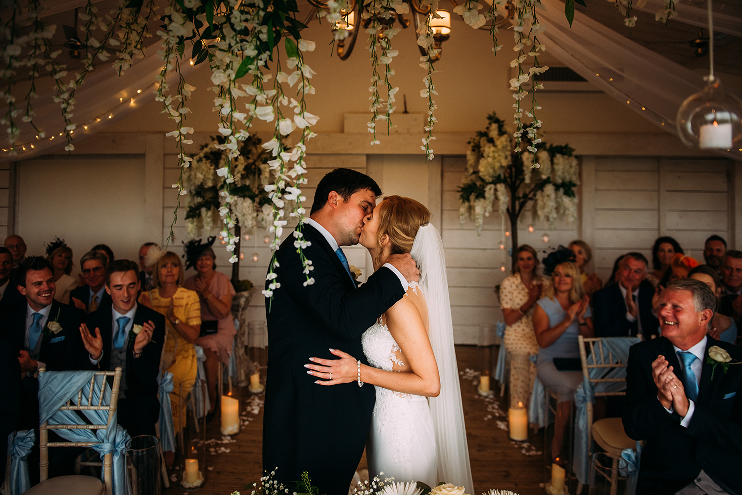 first kiss in the ceremony at Bashall Barn
