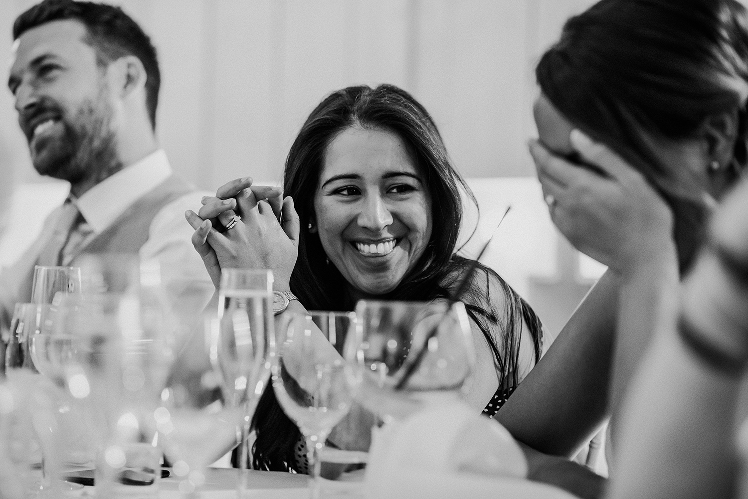 bw photo, guest reactions during speeches