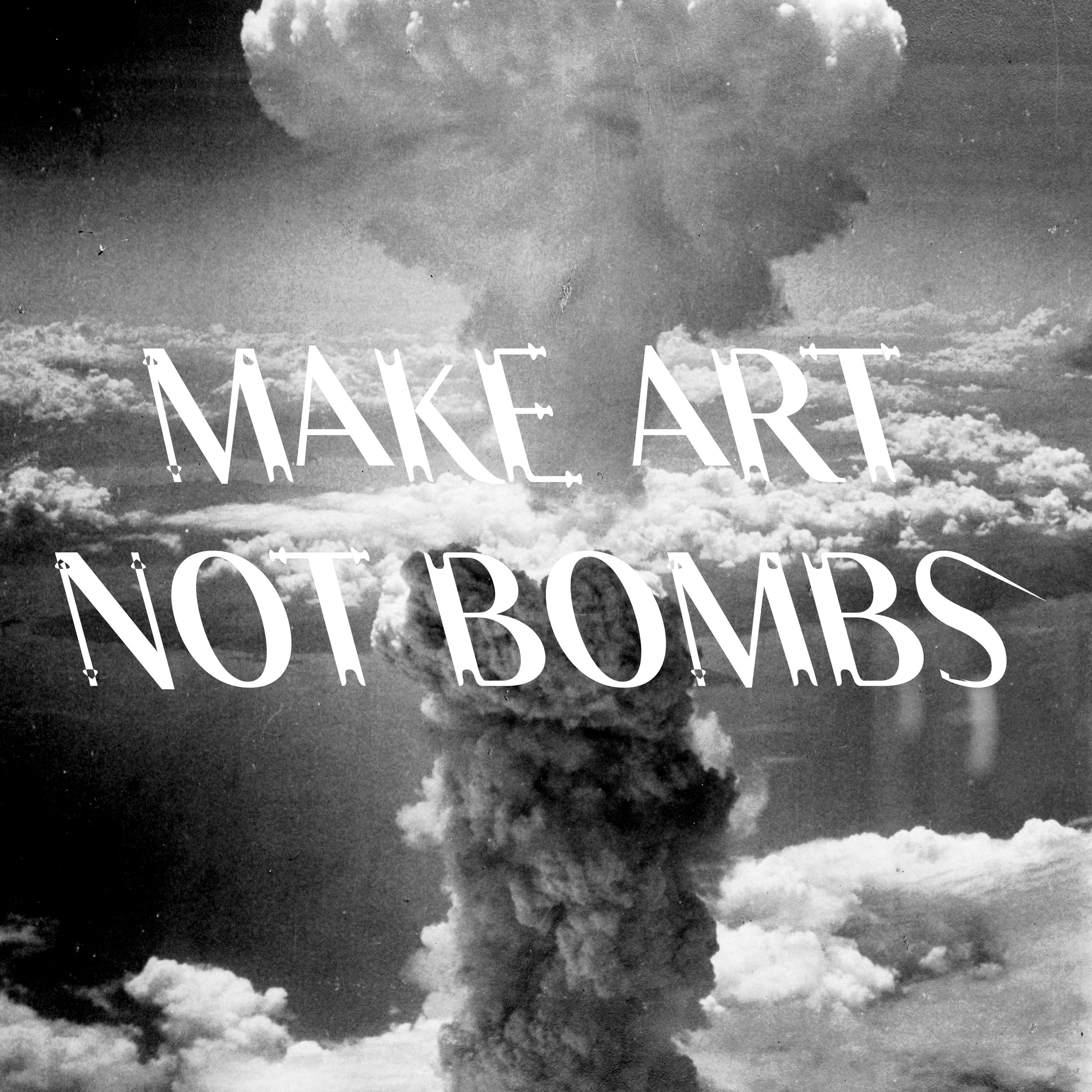 Constantin Demner   @studioelastik   Make Art Not Bombs,  2016 Digital Illustration  For the bomb's artist initiative, Constantin Demner created a bespoke experimental, typeface - LSTK GRETE.   studioelastik.com is a traveling visual art & communication studio with its HQ in Vienna, Austria.