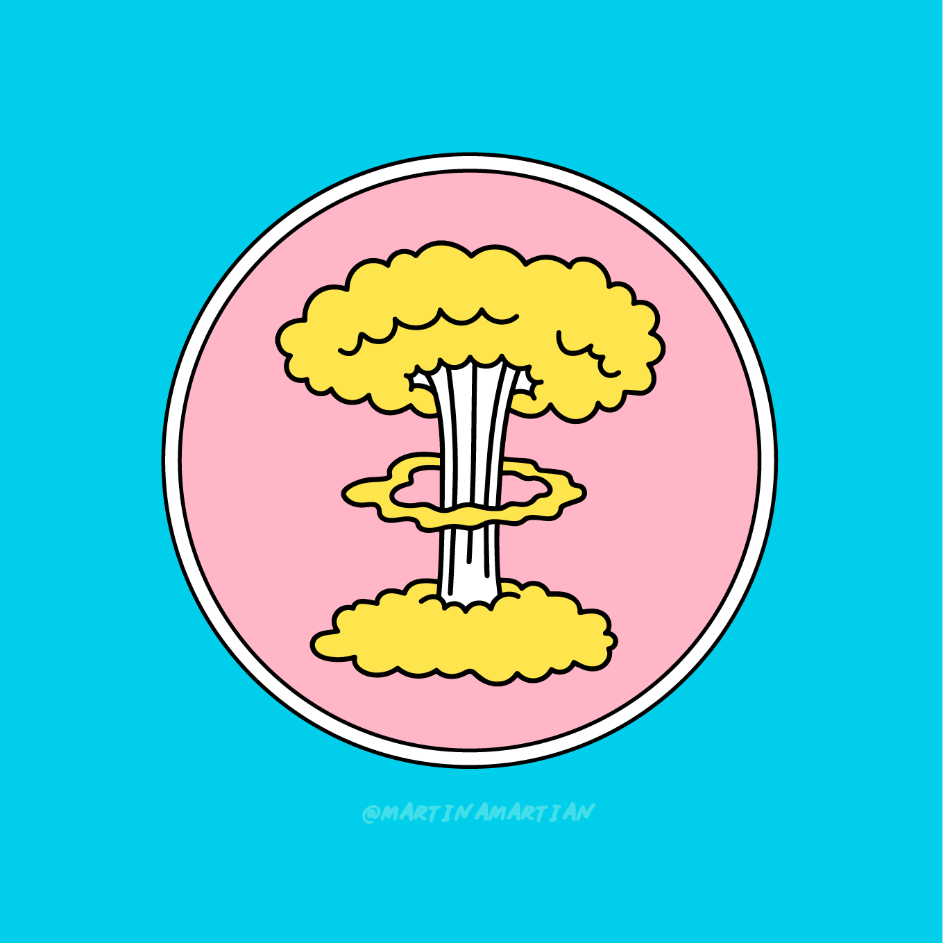 "Martina Martian   @martinamartian   Mushroom Cloud,  2018 Illustration  It wasn't so long ago that Martina Martian visited Hiroshima and finally understood the reality of how devastating nuclear weapons are.   Martian joined thousands of others in signing a pledge against nuclear warfare but says that their voices have not been heard. ""Weapons 20 times more powerful than that which devastated Hiroshima and Nagasaki already exist.""  In a series of images, which appear fun and bold, Martian speaks to a dark underlying reality, ""that the threat of nuclear warfare is alive and real."""
