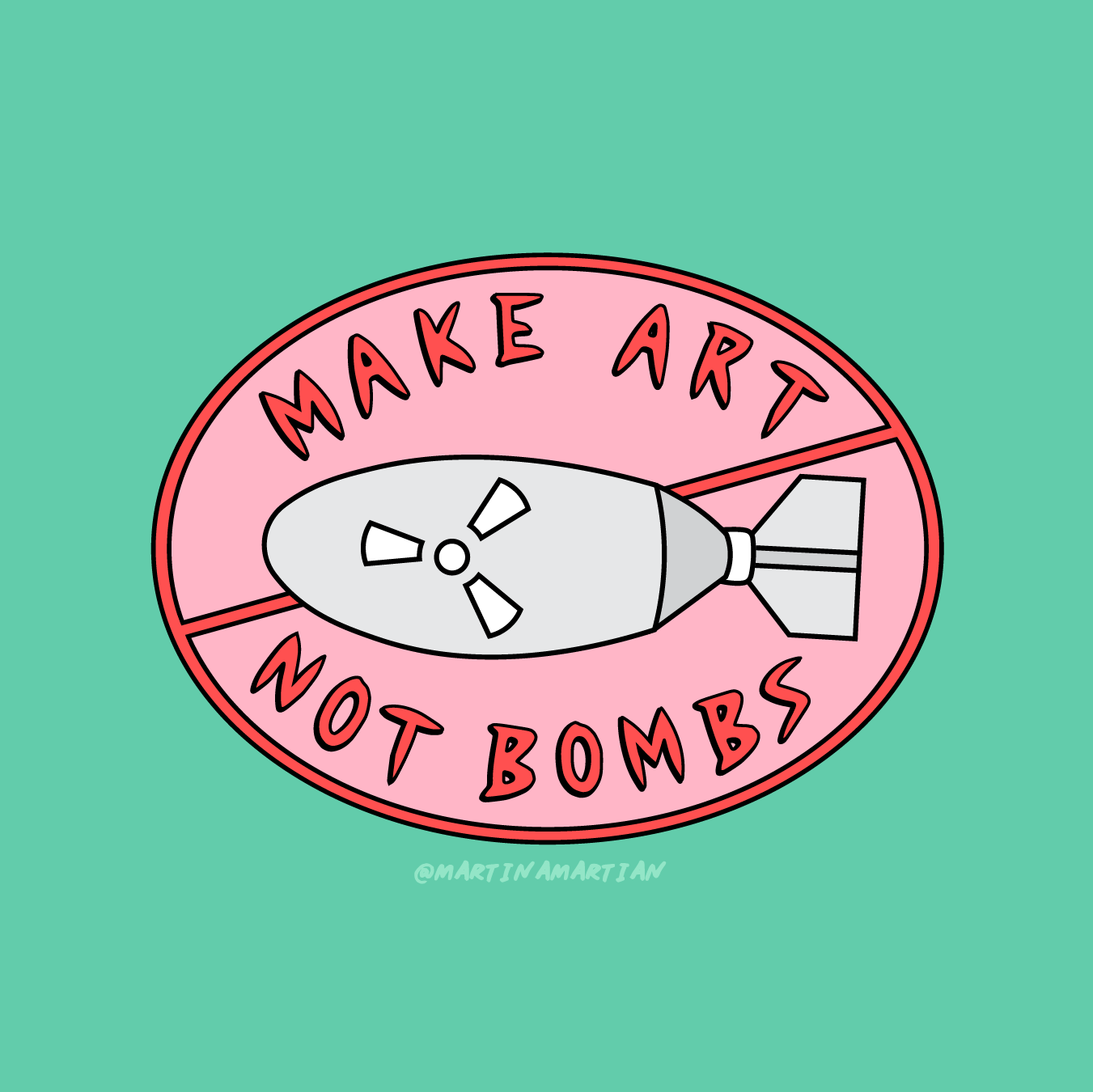 "Martina Martian   @martinamartian   Make Art Not Bombs,  2018 Illustration  It wasn't so long ago that Martina Martian visited Hiroshima and finally understood the reality of how devastating nuclear weapons are.   Martian joined thousands of others in signing a pledge against nuclear warfare but says that their voices have not been heard. ""Weapons 20 times more powerful than that which devastated Hiroshima and Nagasaki already exist.""  In a series of images, which appear fun and bold, Martian speaks to a dark underlying reality, ""that the threat of nuclear warfare is alive and real."""
