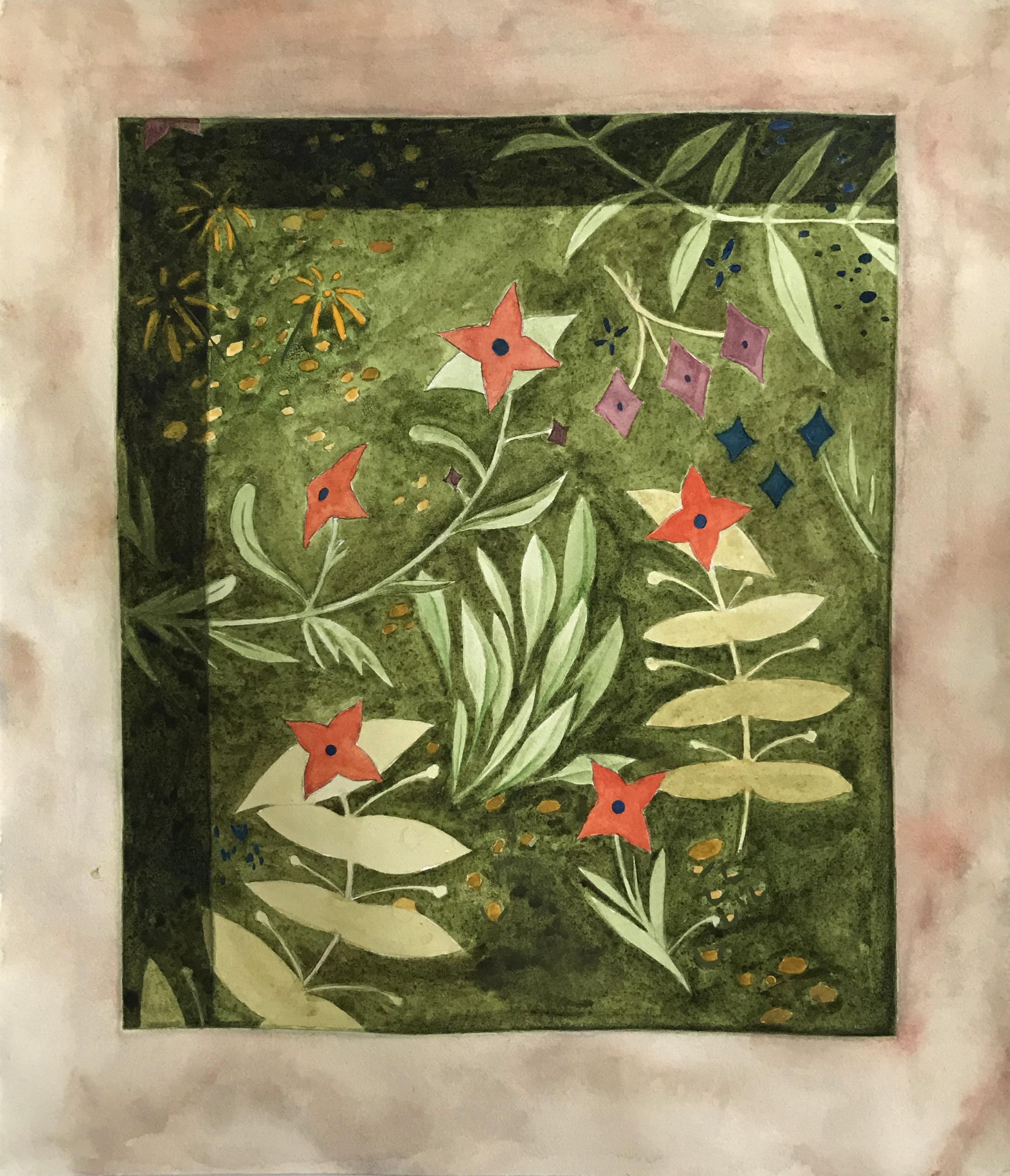 "The Garden (Stigmata) Study  2019  Watercolor and gouache on paper  10 x 8.5"""