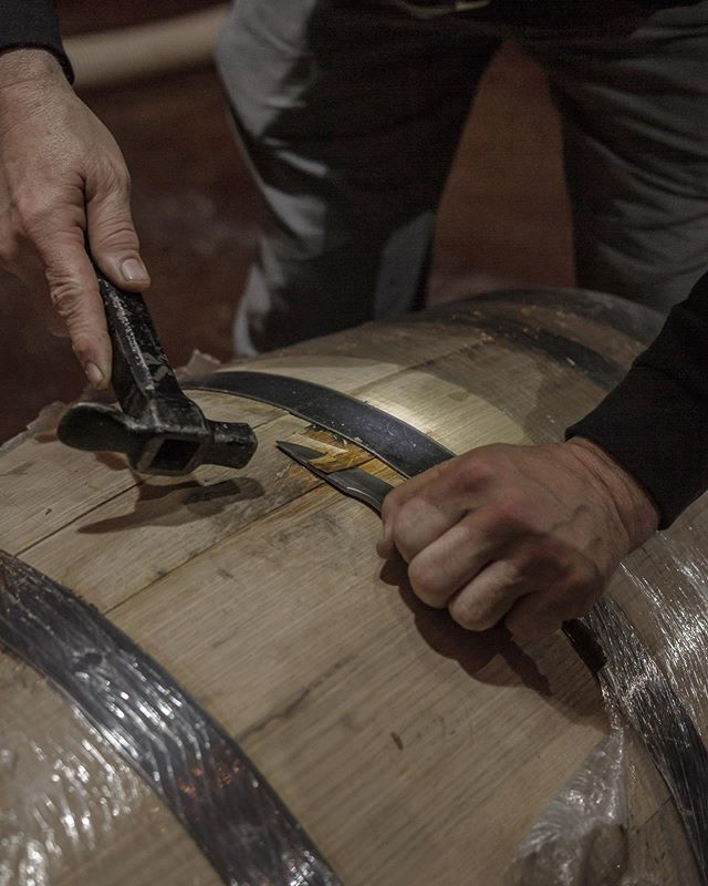 Our distiller @pelhamg Fixing a leaky barrel... Not every barrel is perfect. No barrel is the same. That's one beautiful part of what makes each batch of whiskey unique. Once it's gone there will never be another exactly like it.  Cheers to the process!🥃