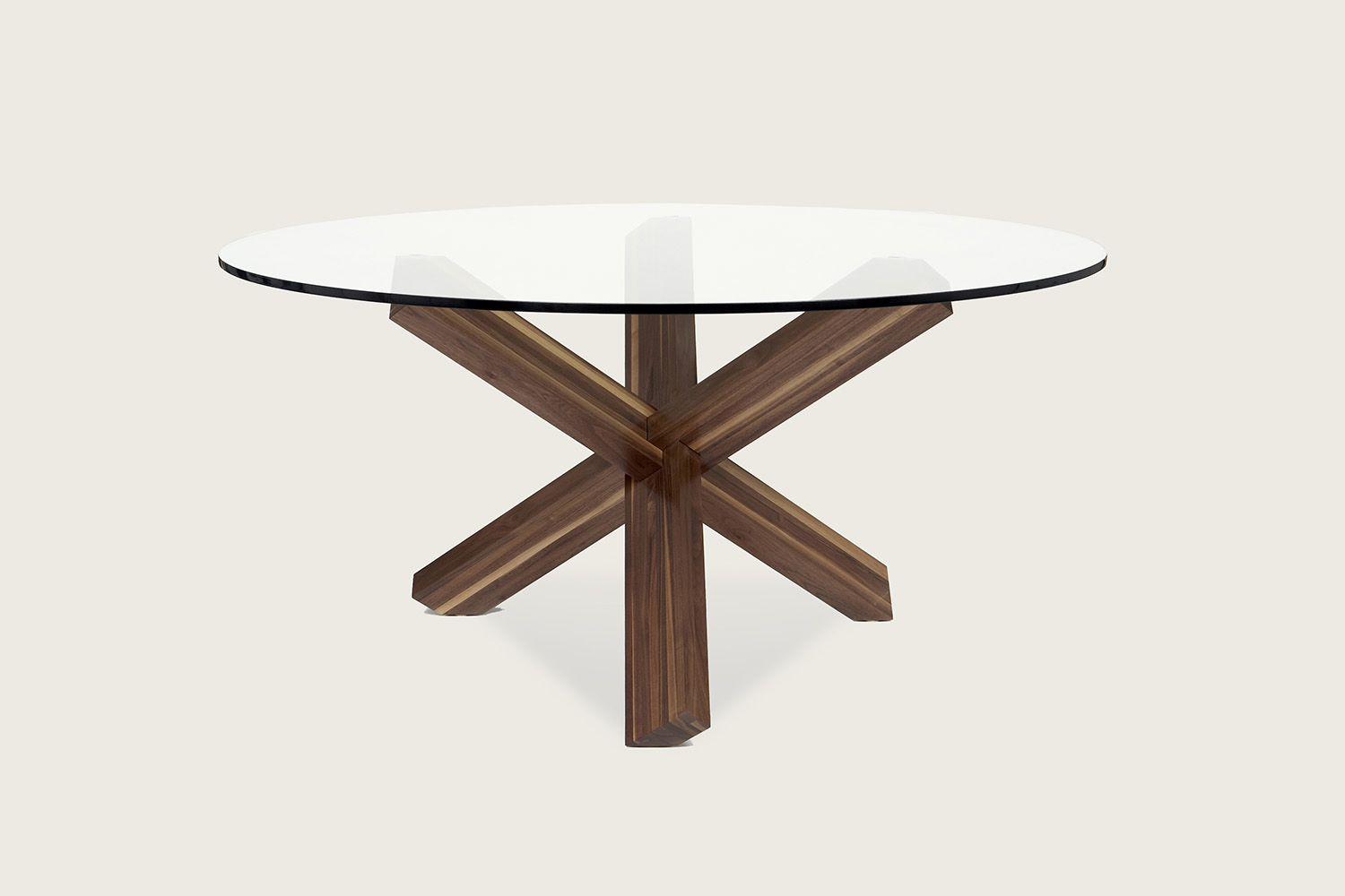 Think Pedestal Dining Table in solid walnut with glass top - Speke Klein