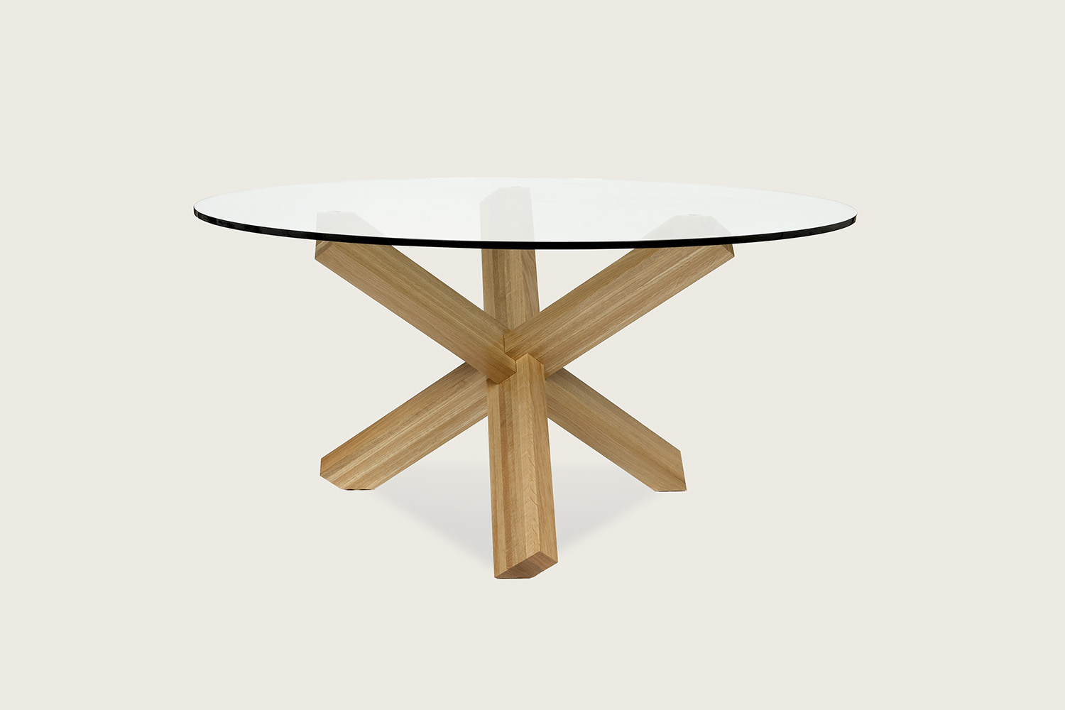 Think Pedestal Dining Table in solid oak with glass top - Speke Klein