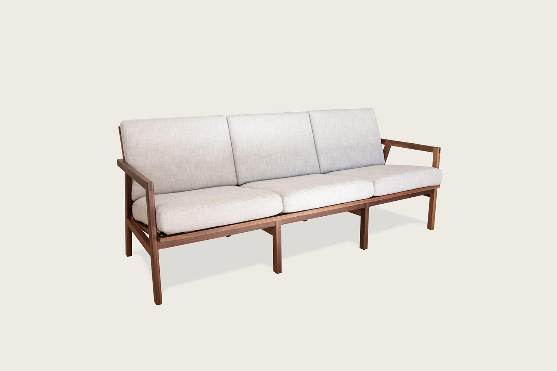 Adam 3-Seat Sofa in walnut with wool upholstery - Speke Klein