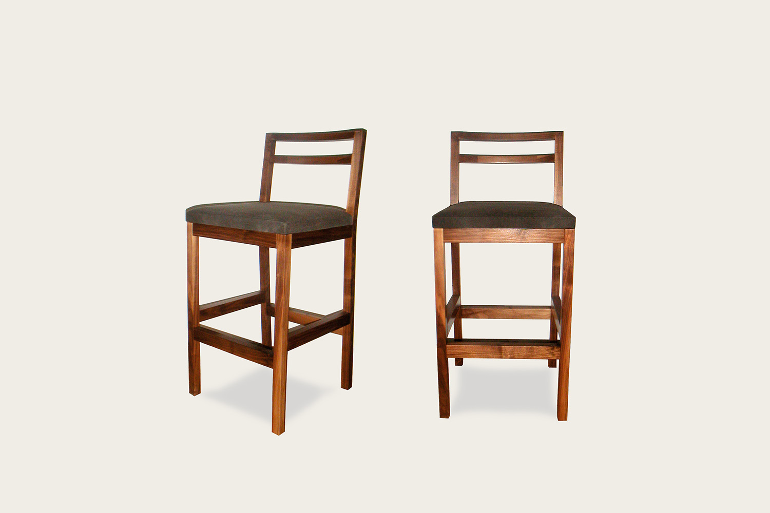 Ideal Bar Stool in walnut with upholstered seat - Speke Klein