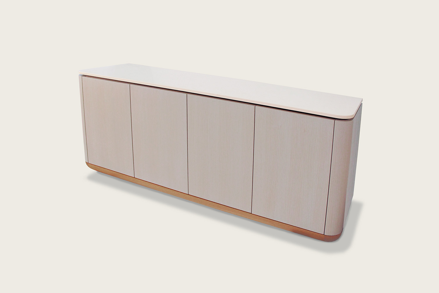 Contour 4-Door Credenza in oak with quartz top - Speke Klein
