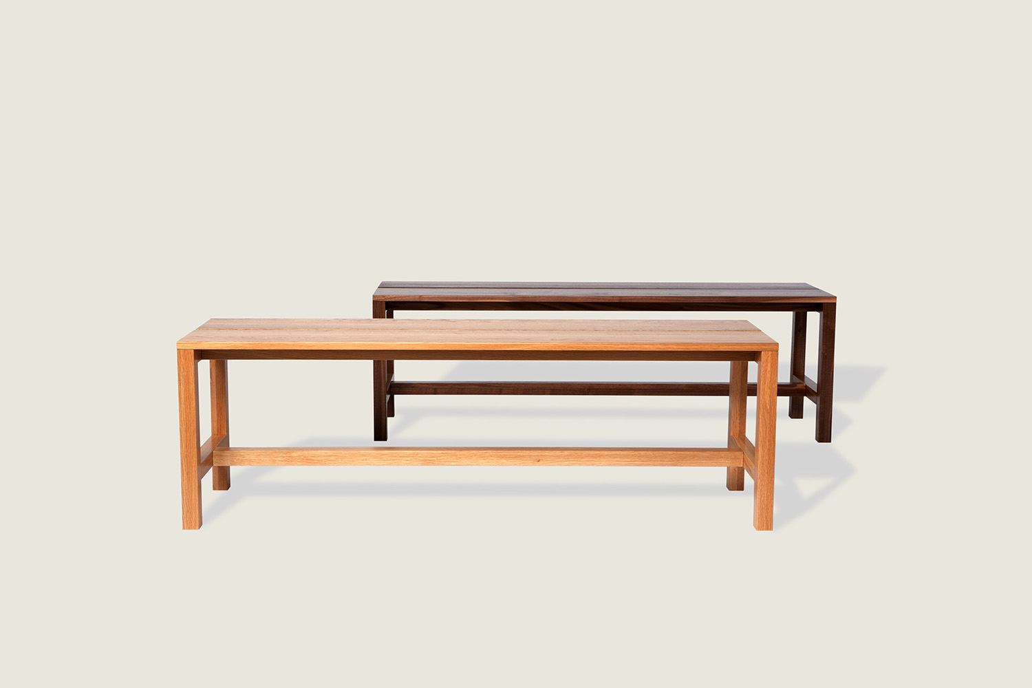 Quinn Bench in solid oak and solid walnut - Speke Klein