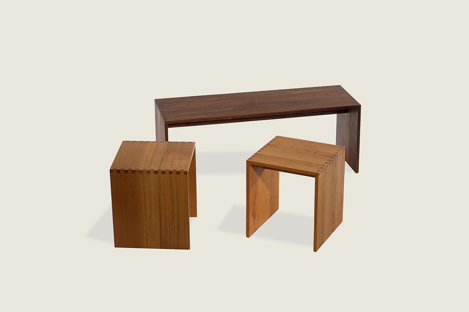 Touch Bench & Stool in solid oak and solid walnut - Speke Klein