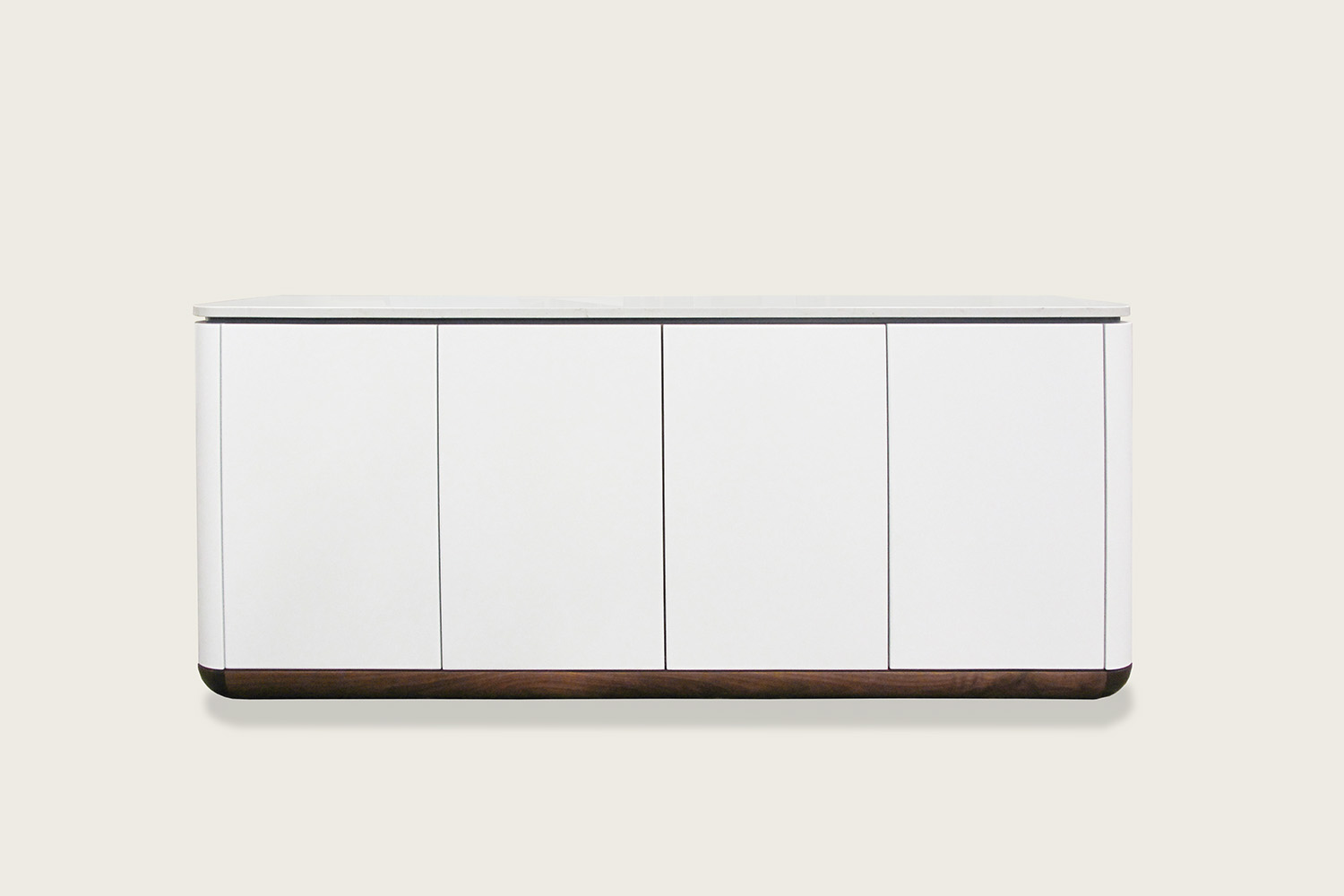 Contour 4-Door Credenza in ultra white and walnut with quartz top - Speke Klein