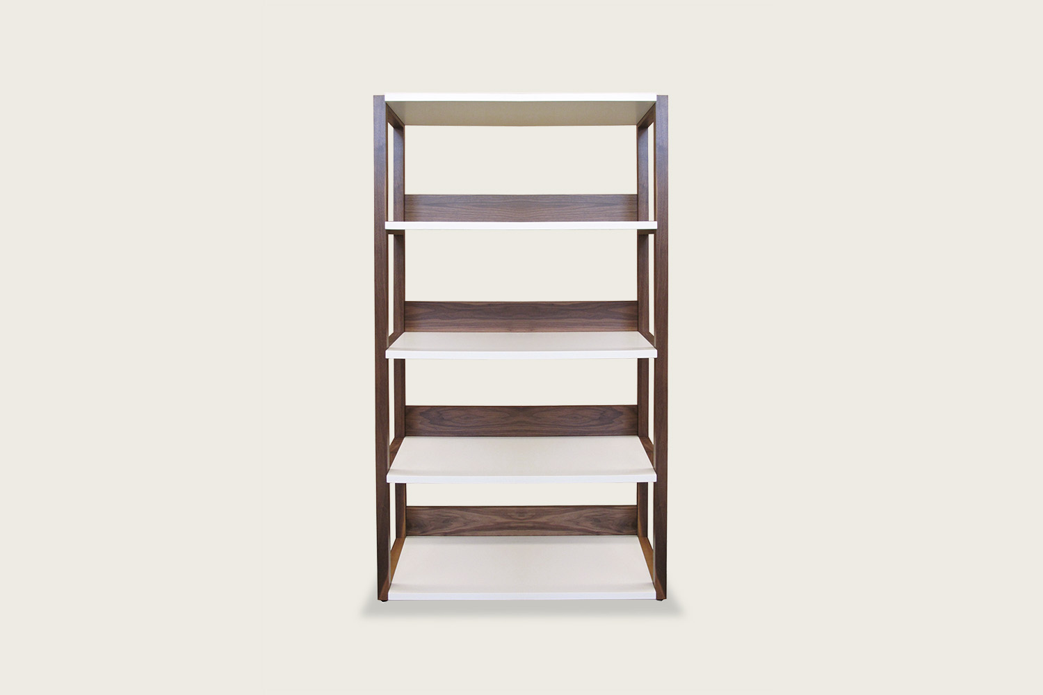 Strata Shelving Unit - 5-tier in walnut with white shelves - Speke Klein