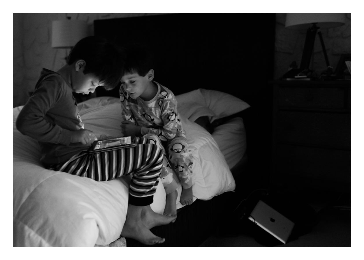 My husband and I are strict meany-pants about iPad use in our house. On the weekends, the boys get 10 minutes, to be spent at any point in the day. Sometimes that means they're playing early morning Angry Birds on our bed. Which is fine. Because I love watching one cheer on the other from my comfy pillow. And then we have the rest of the day off from iPad games. :-)