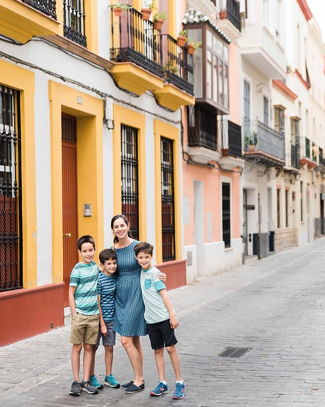 We have been listening to At Home in the World on audiobook and are missing our summer travels in Spain & Italy (plus dreaming of all the places we'd like to go!). This (mostly) pedestrian street was near our rental apartment in Sevilla, and I made my husband take a photo of the boys & me because the colors were just so beautiful. Where is your favorite place to travel & what spots are in your list? We're always looking for new ideas!
