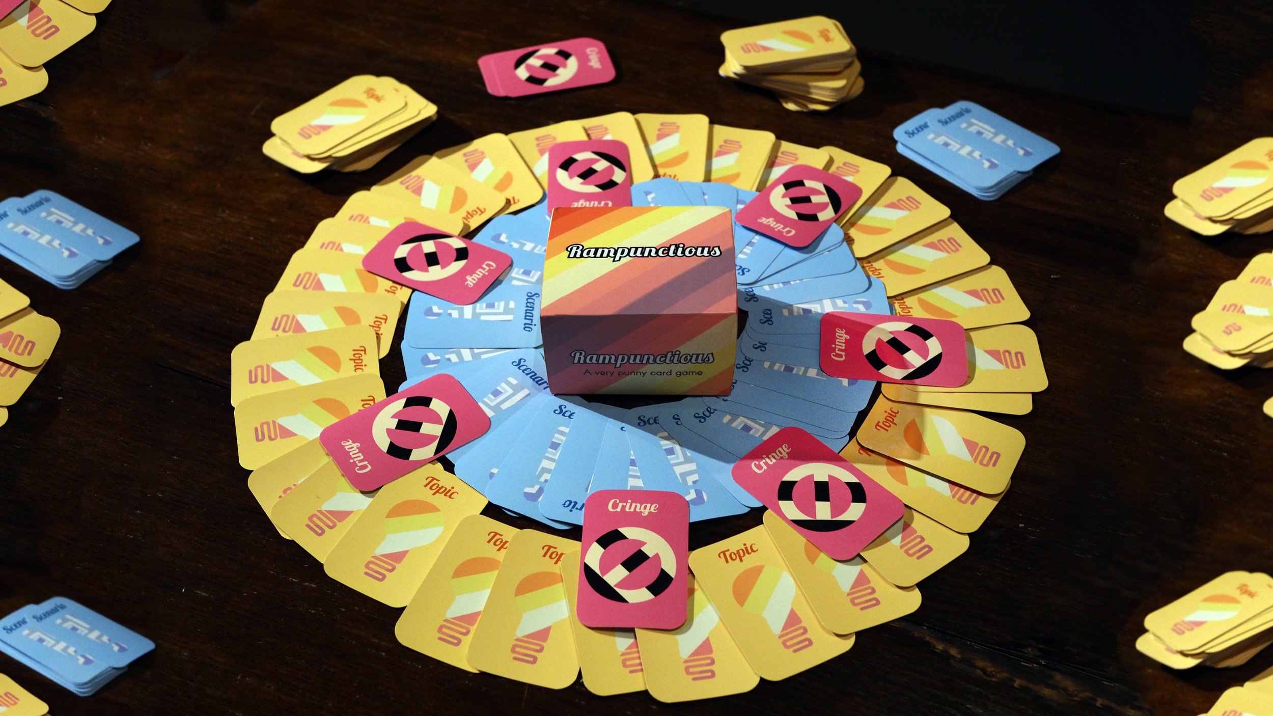 Rampunctious - Rampunctious is the game of terrible puns! 4+ player and whoever makes the best, most or worst puns wins.Game Design: Jen CareyArt Directior: Basil LimCringe Art: Eveliina DurchamnnAdditional Writing: John Fitzgerald