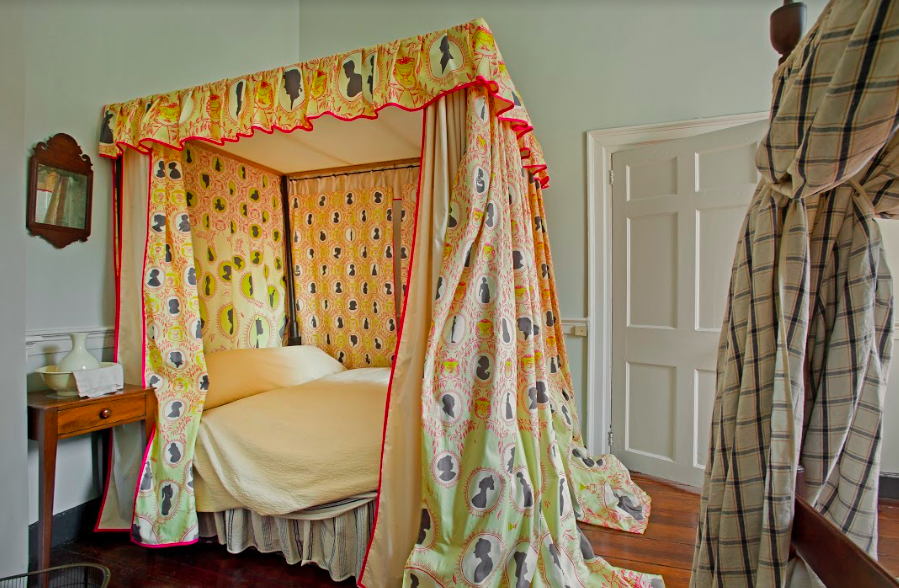 """Not on View"" is a textile installation on a historic canopy bed in the East Bedchamber.       Photo by Vince Lupo."