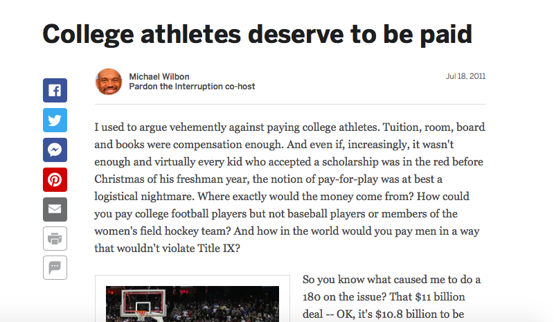 From ESPN.com in 2011, the ongoing debate about paying college athletes.