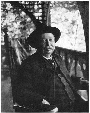 Joel Chandler Harris on the front porch of his West End home.