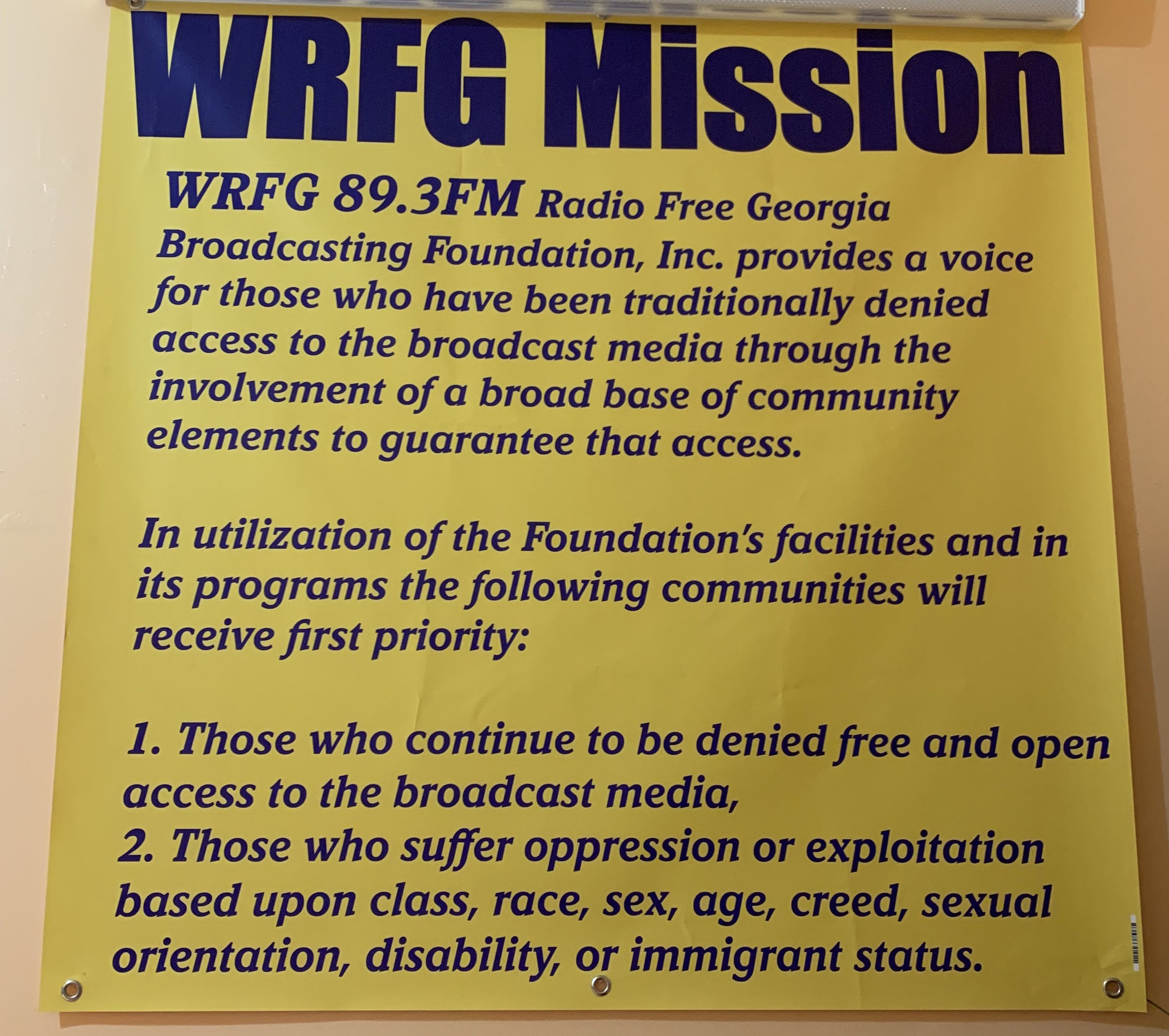 WRFG's mission statement. Photo by Gina Caison.