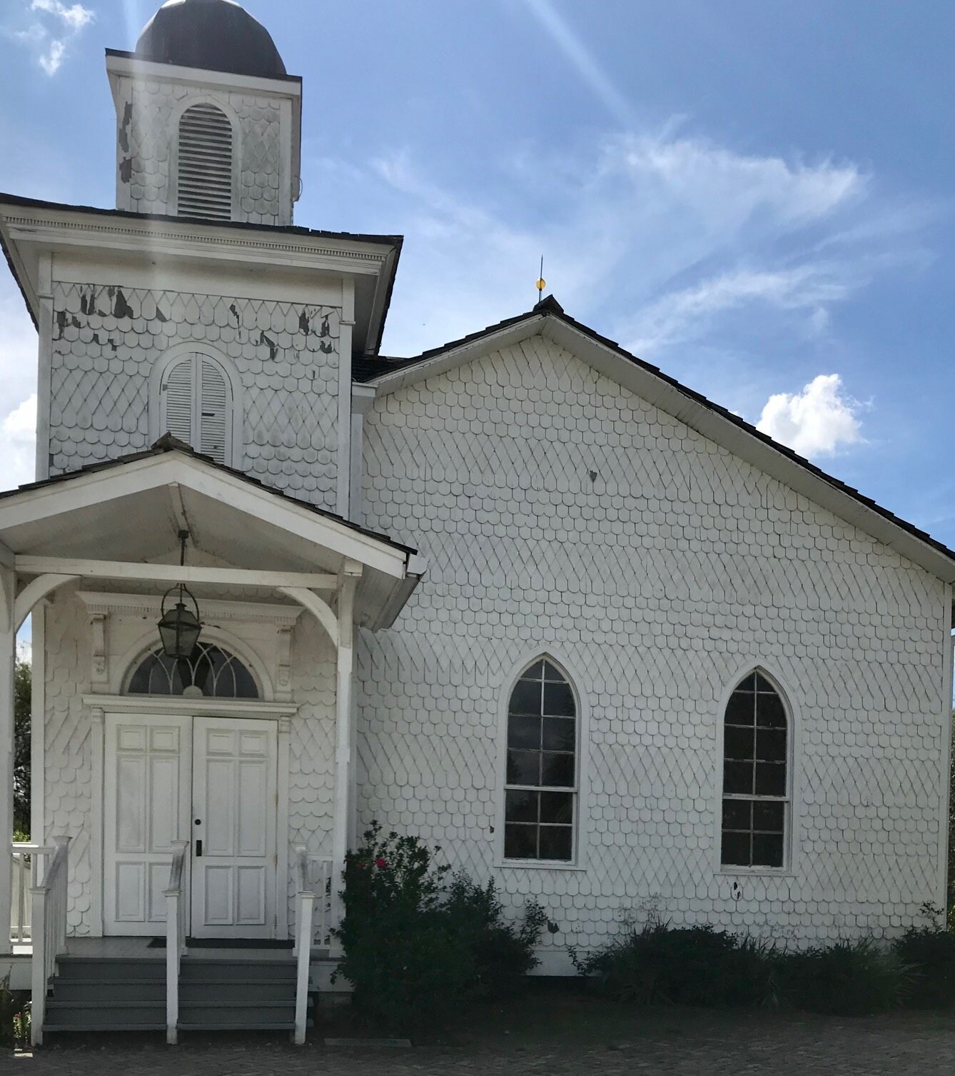 The Antioch Baptist Church, which was moved to the site, but founded by formerly enslaved men following emancipation.