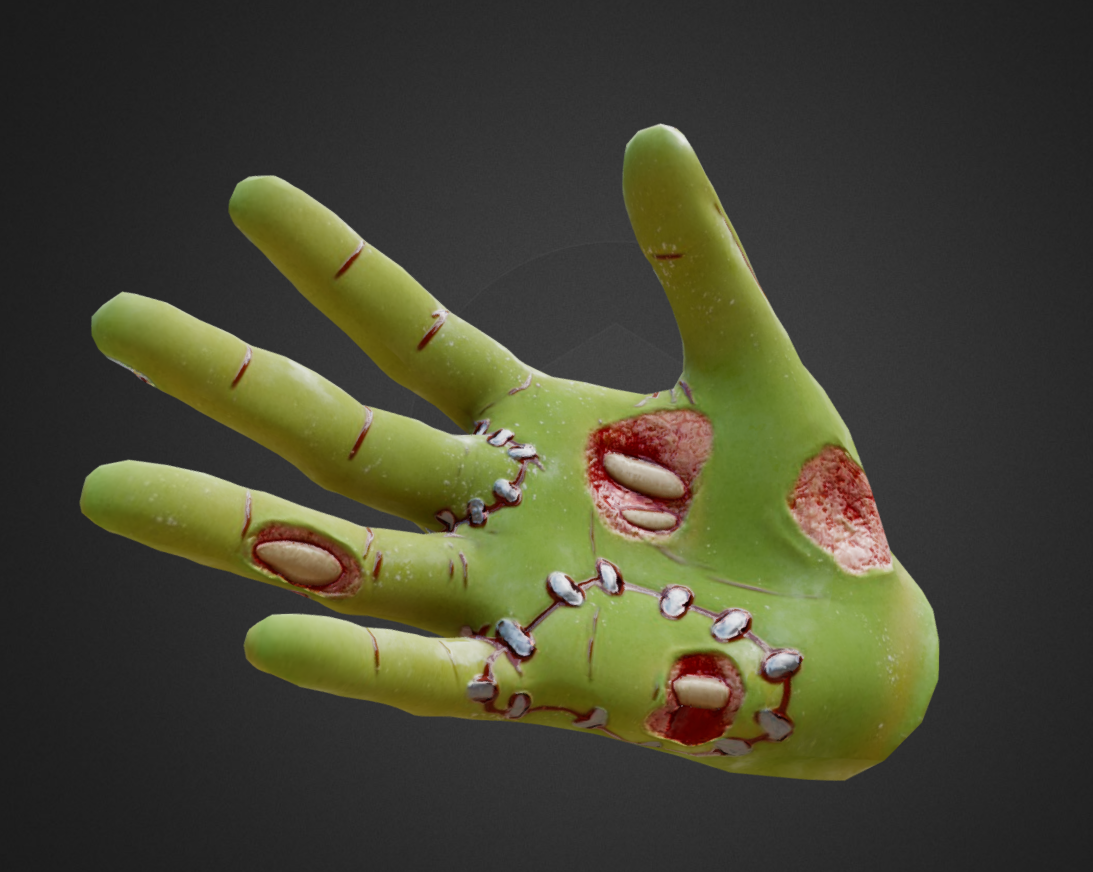 (2017) a zombie hand I textured for practice