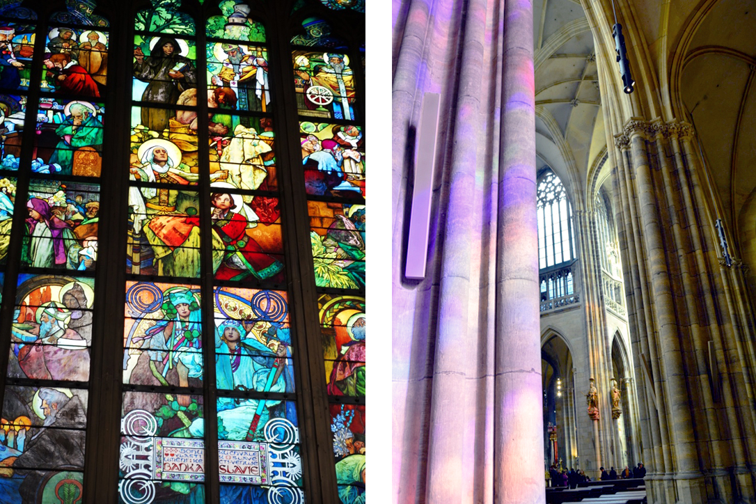 With direct sunlight the stain glass covers the church in vibrant colors