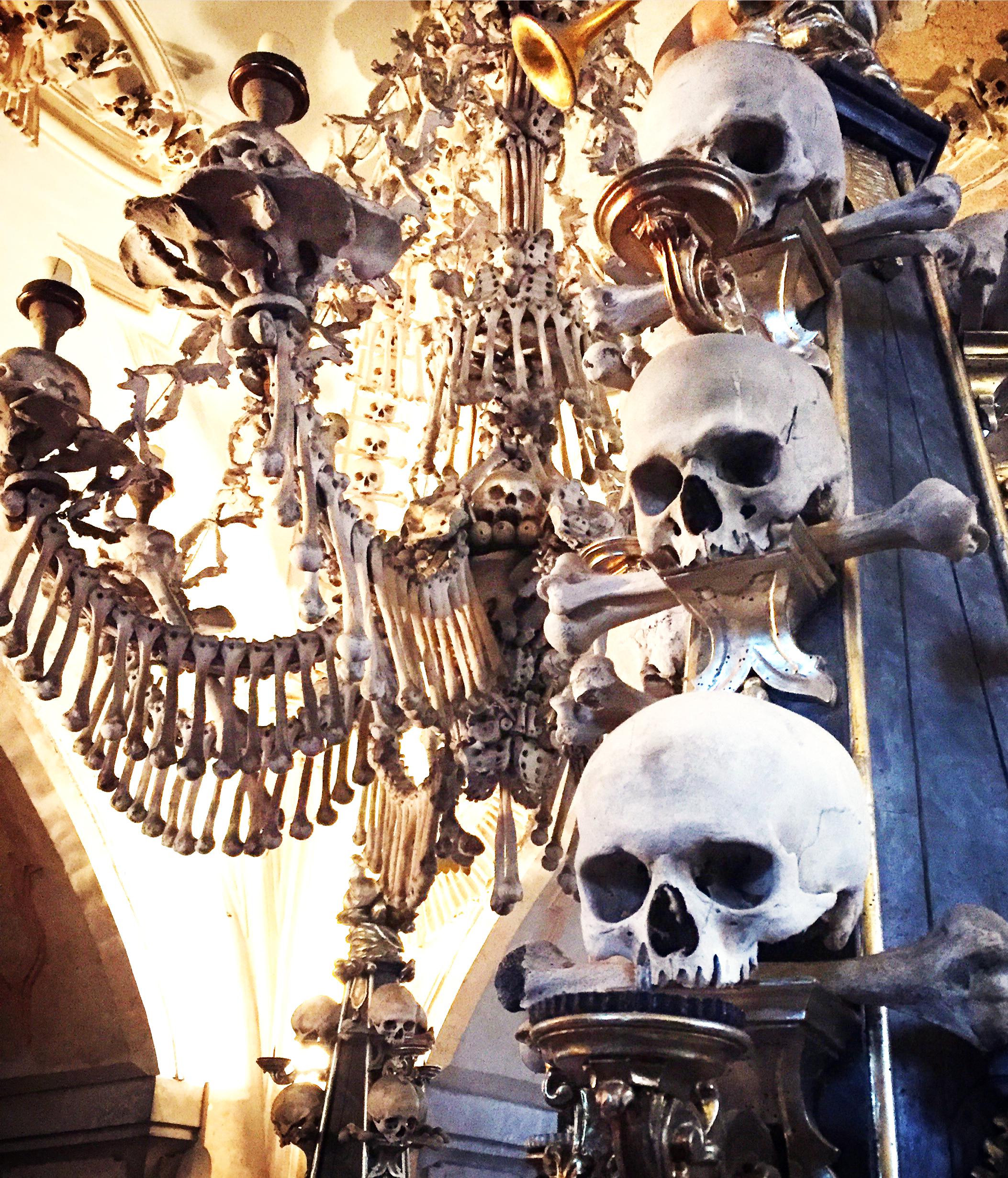 The bone chandelier inside the Bone Church