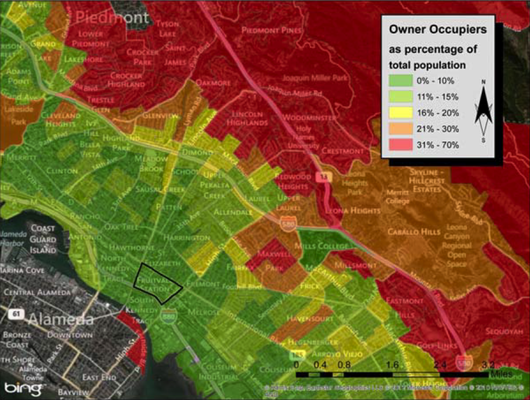 Owner-occupied properties in the Fruitvale area